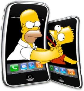 Homer choking Bart